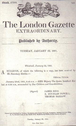 Anuncio de la muerte de la Reina Victoria
