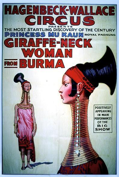 Cartel anunciando Mujeres Padaung