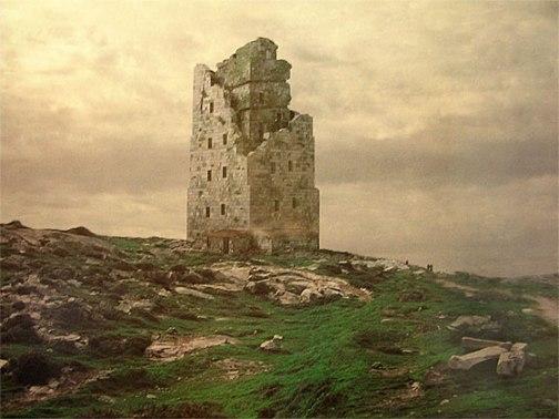 Torre de Hercules en ruinas, grabado