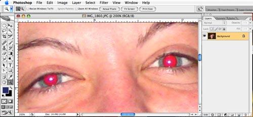 Eliminar los ojos rojos