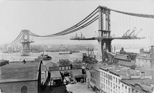 Comienzos del Puente de Manhattan