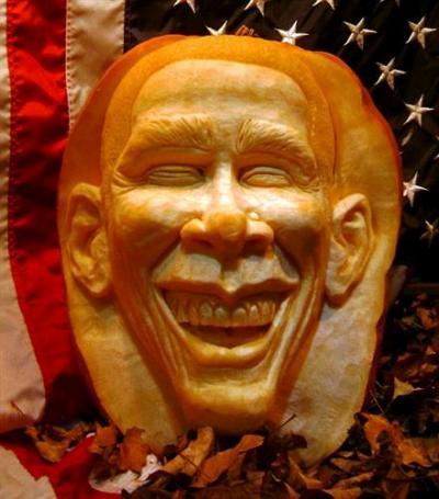 Calabaza de Obama para Halloween