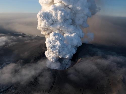 vista aérea del volcán en Islandia